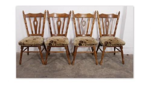 5543f Drewniane Krzesła Z Kwiecistym Obiciem 4 Szt